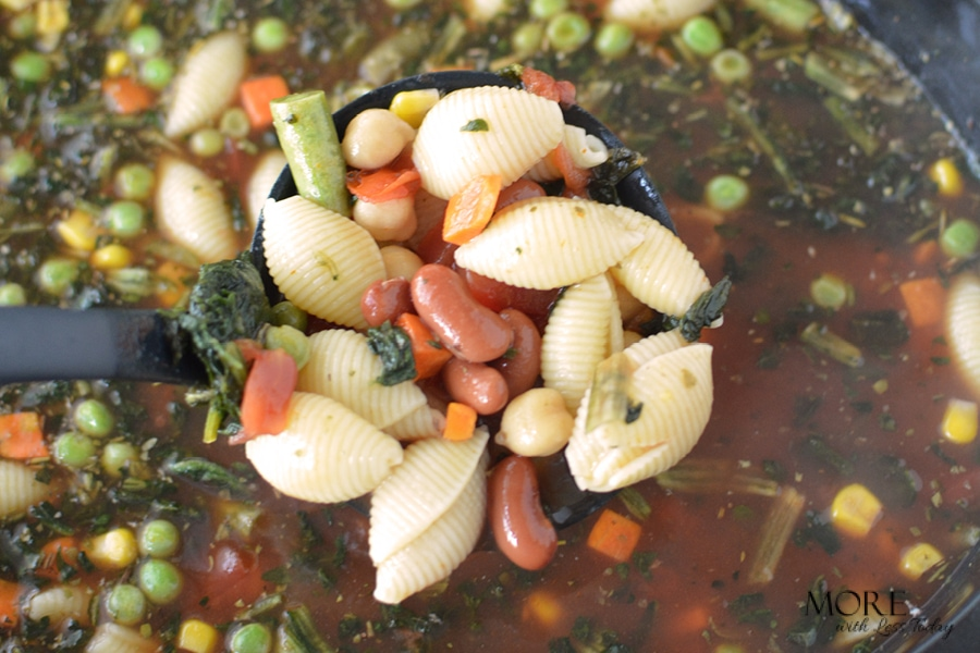 This hearty minestrone soup is easy to make in the slow cooker.