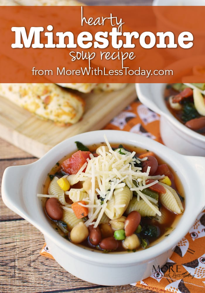 Looking for an easy meatless meal for busy weeknights? Try this Hearty Minestrone Soup Recipe - Meatless Meals with Canned Beans