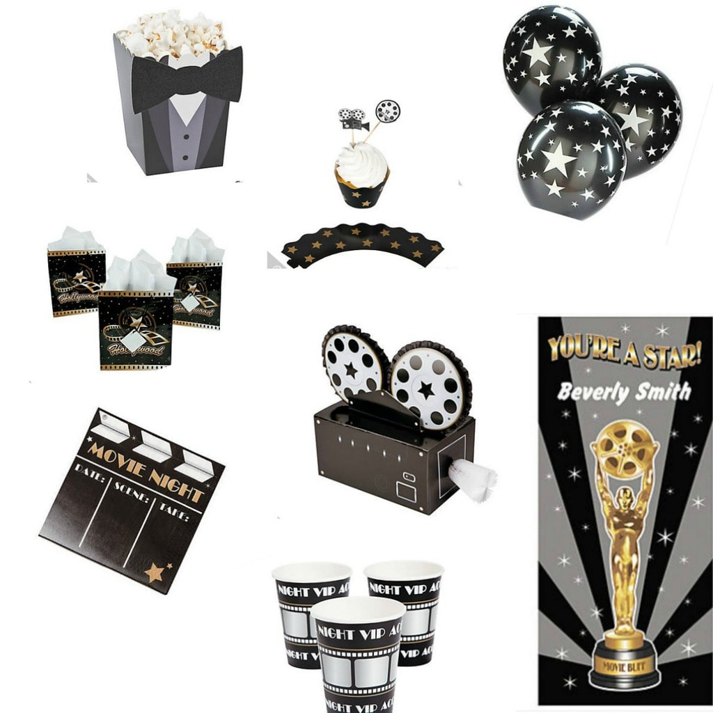 """Why not throw a movie night awards party and invite your friends? There are lots of ways you can have fun with this! We found inexpensive decor. You can have an award for """"Best Dressed"""" and encourage everyone to break out those evening clothes just handing in the closet."""