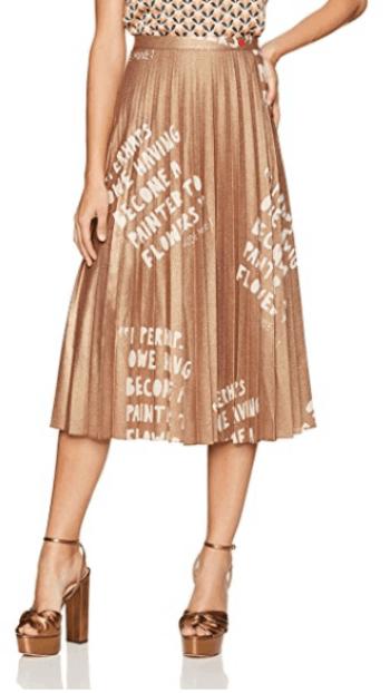 Lexington Avenue Pleated Metallic Skirt Dear Drew Collection