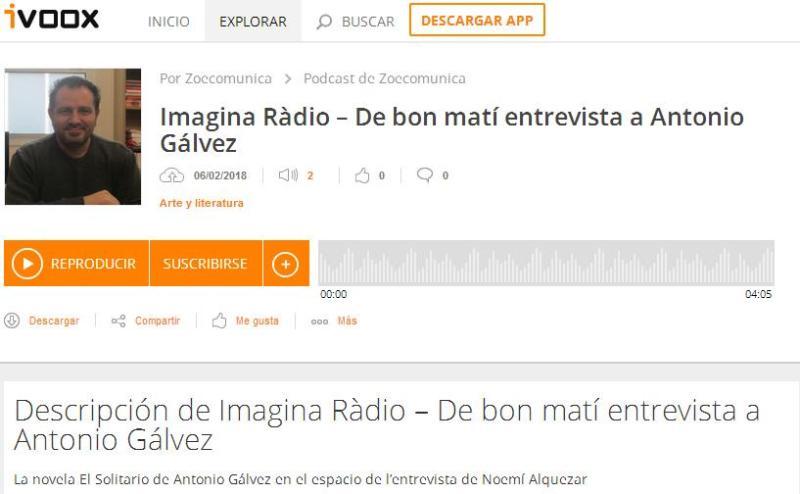 Audio sobre la novela El solitario, de Imagina Ràdio, desde Ivoox y Zoë Comunicación