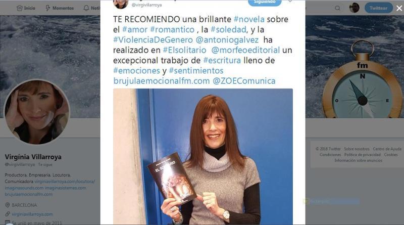 Virgínia Villarroya, con la novela titulada El solitario, desde Twitter