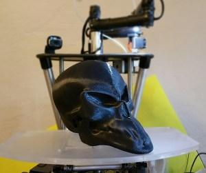 A 3-D printed alien skull