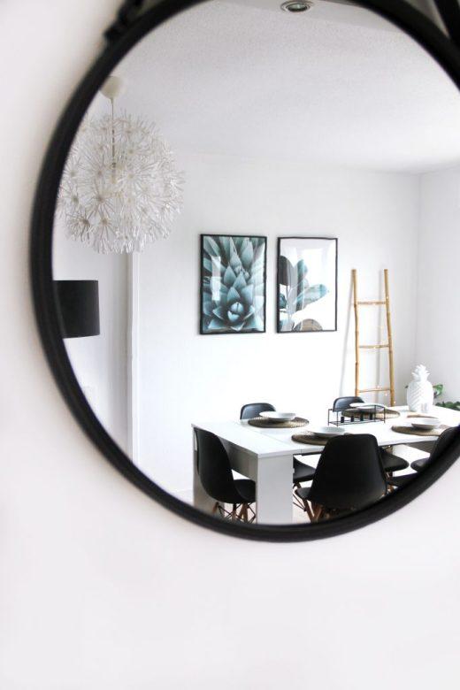 miroir rond noir deco
