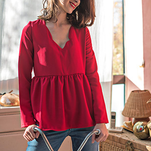 blouse rouge saaj paris