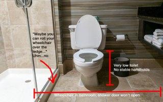 inaccessible (non-handicapped) bathroom
