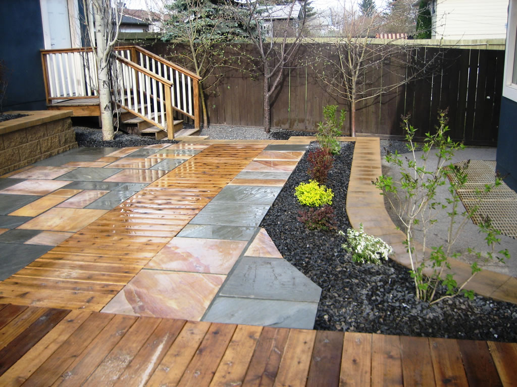 Cedar Decking Inset with Natural Stone Patio - Morgan K ... on Patio Stone Deck Ideas id=87696