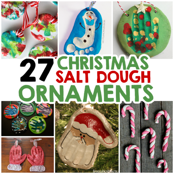 a collage of DIY Salt dough gifts for grandparents