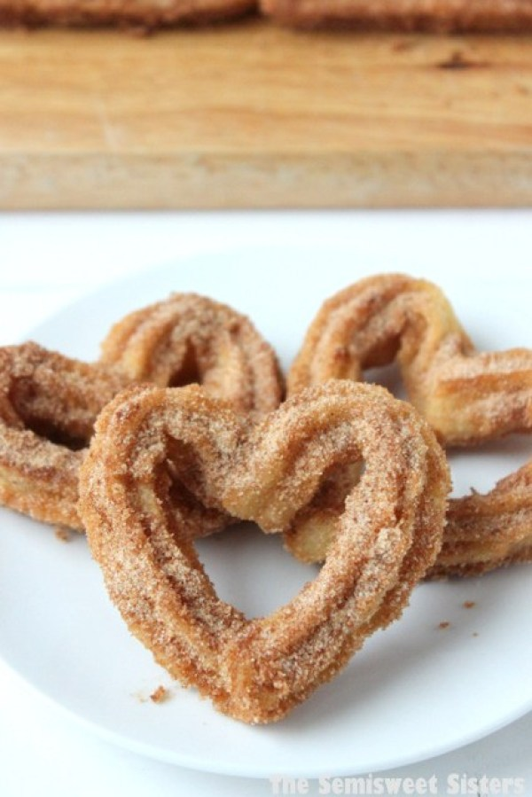 heart shaped food churro