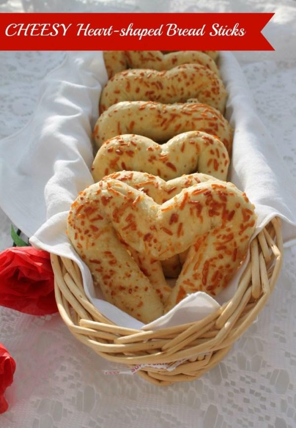 heart shaped food cheesy breadsticks