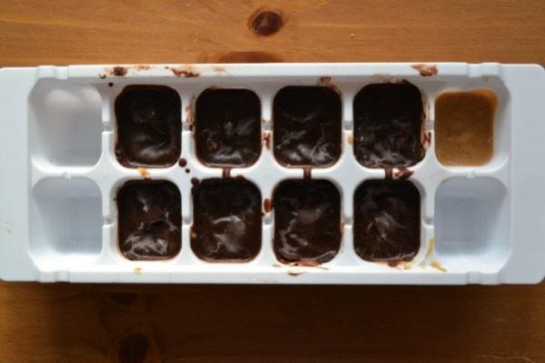 healthier peanut butter cups in cube tray