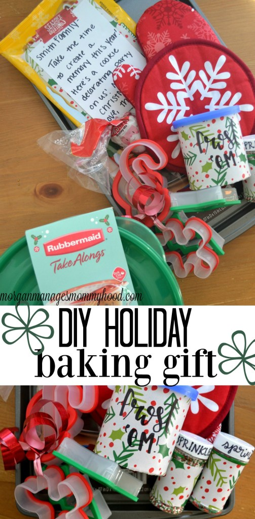 Looking to make the perfect gift for a family you love? Give them the gift of family togetherness and creating memories by putting together this DIY Holiday Baking Gift. Supply them with all of the necessities for a cookie party and they can do the fun part as a family!