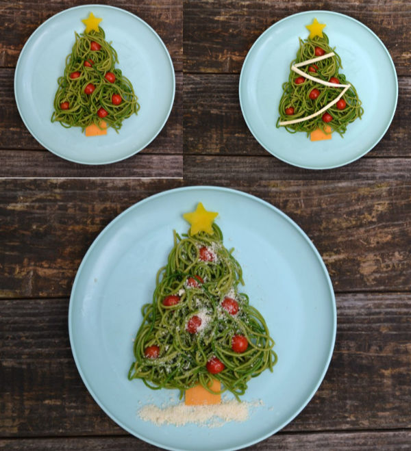 a collage of different ways to decorate christmas tree pasta with cheese and veggies