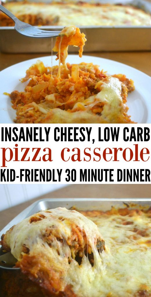 Insanely Cheesy Low Carb Pizza Casserole is the perfect family compromise for weeknight dinners - packed with veggies, cheese, and tons of pizza flavor! This easy dinner is mom approved while still being a kid friendly dinner. #healthydinner #kidfriendlymeals #casserole #easy idnner