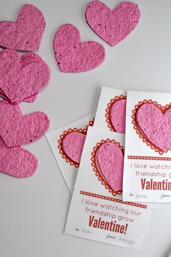 Finished seed paper valentines with pin seed paper hearts ready to be sent out.