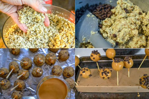 a collage showing how to make sugar free cake pops - from processing pancakes into powder, mixing the cake ball mix, and dipping the cake pops in the coating.