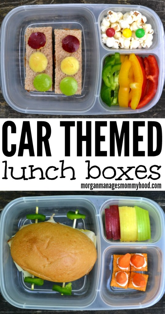 Car themed lunch boxes // lunch box, bento box, fun lunch box, themed lunch box, fun kid food, car food