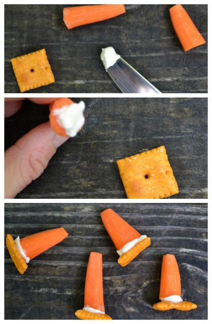 step by step image for how to make an edible traffic cone using asquare cheese cracker, a carrot, and cream cheese