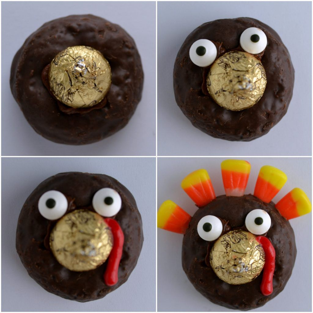 a process collage making a chocolate turkey donut showing the steps to make the donue
