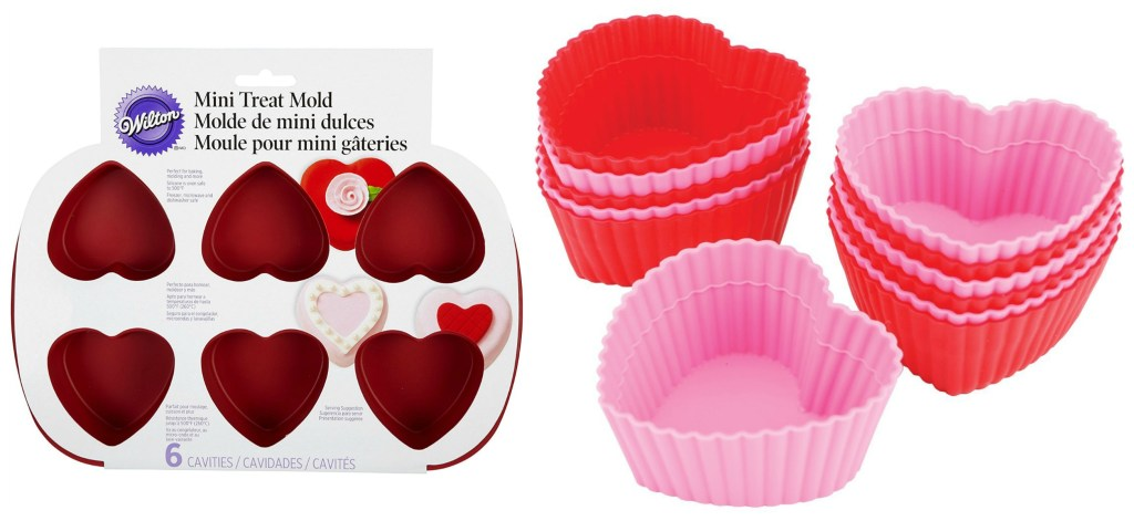 stock amazon images of a heart silicone mold from Wilton and red and pink silicone muffin cups