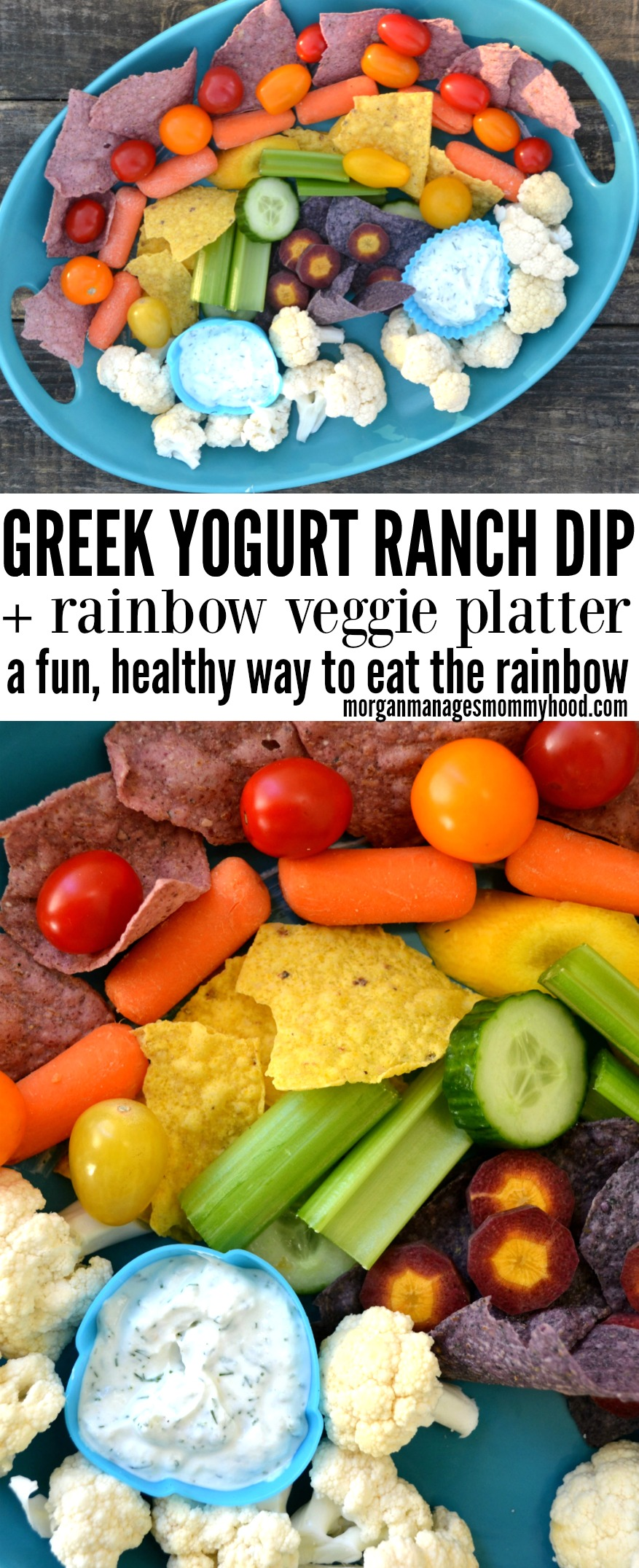 This Greek yogurt ranch dip recipe is not only delicious and kid friendly, but a healthy veggie dip you can feel good about. Layer this ranch dip with Jackson's Honest chips and veggies of all colors to make a fun and interesting rainbow veggie platter. (ad) #healthysnacks #healthykidfood #funkidfood