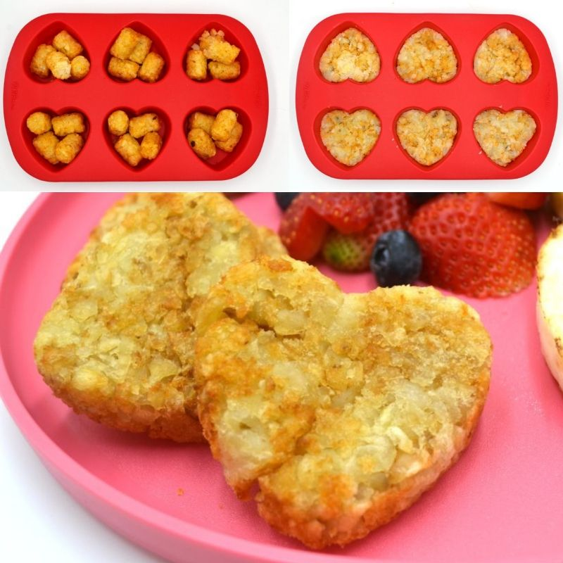 a collage showing how to make heart shaped hash browns for a valentines breakfast