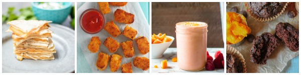 a collage of butternut squash hidden vegetable recipes for kids - a stack of quesadillas, butternut squash tater tots, a smoothie, and muffins