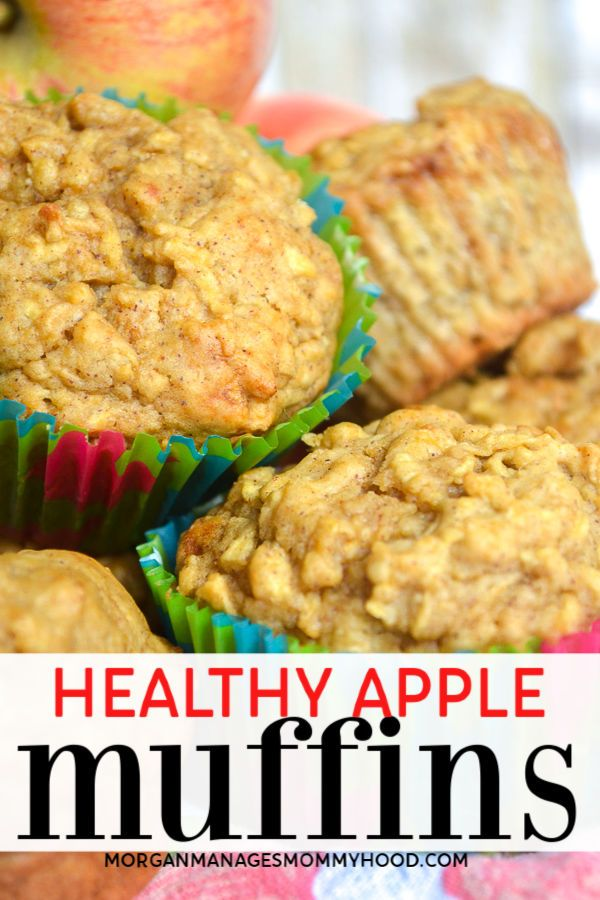 a pinable image showing healthy apple muffins with green and red cupcake liners