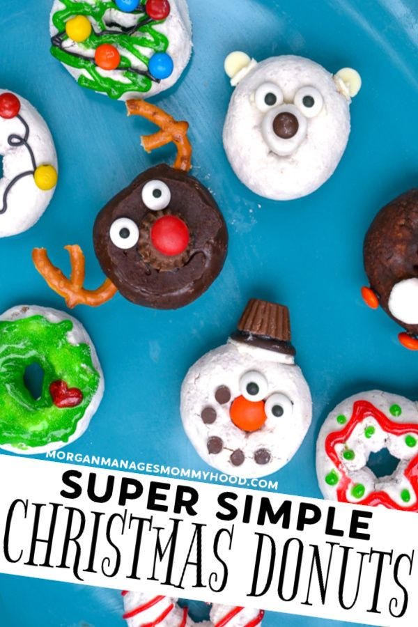 a variety of easy christmas donuts decorated festively on a blue platter