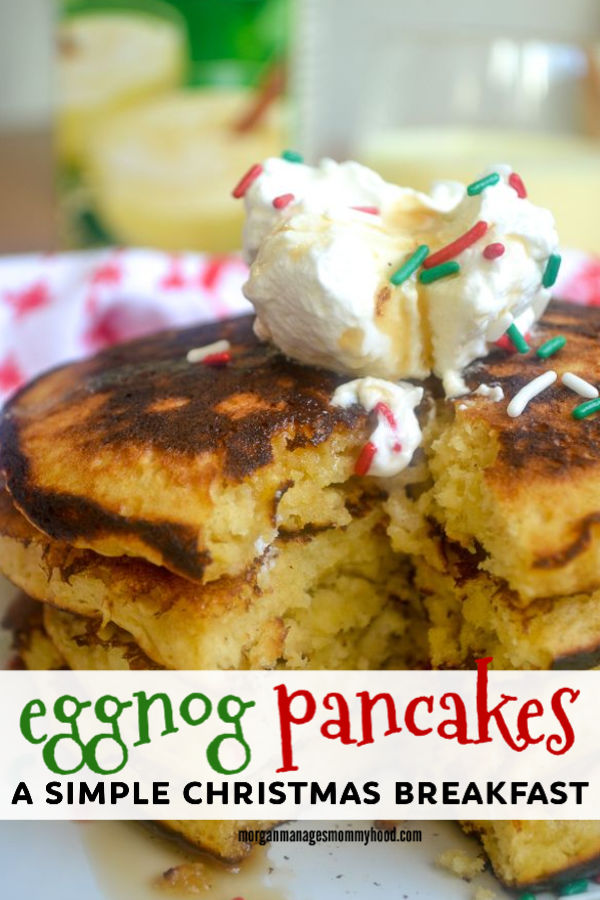 pinable image showing a large stack of eggnog pancakes topped with holiday  sprinkles and whipped cream