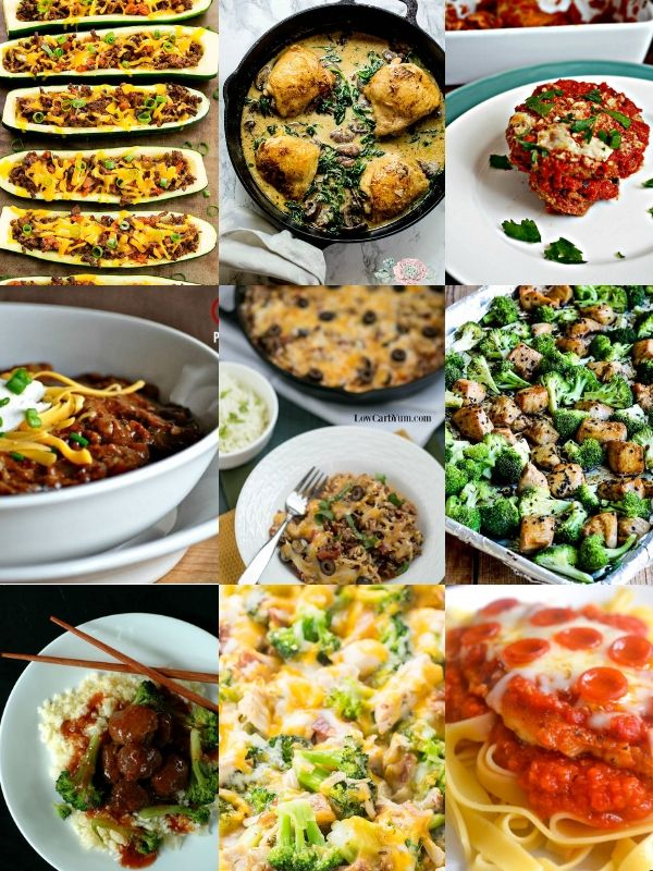 a collage of 9 different low carb family dinner ideas, like sesame chicken, taco zucchini boats, and chili