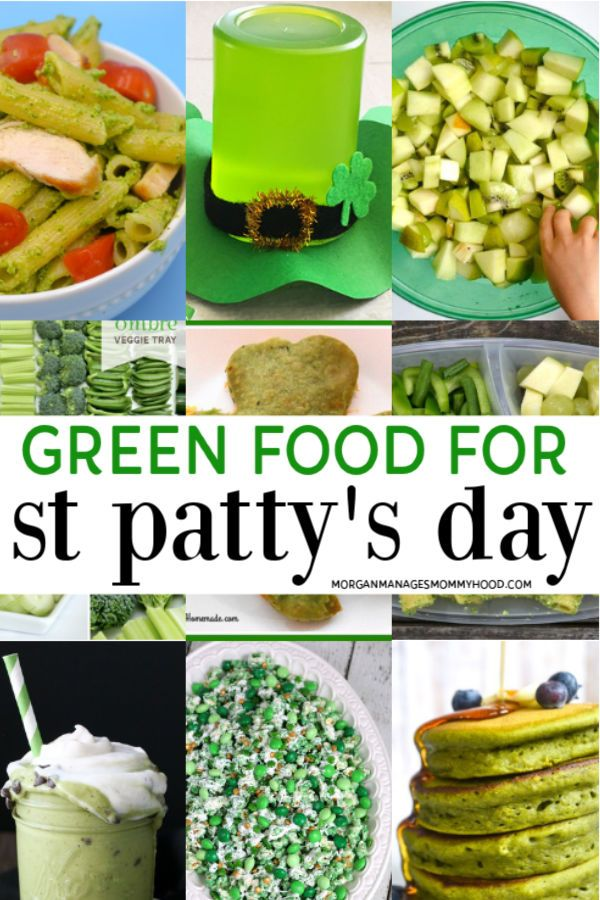 a collage of 9 different photos of green food for st. patrick's day