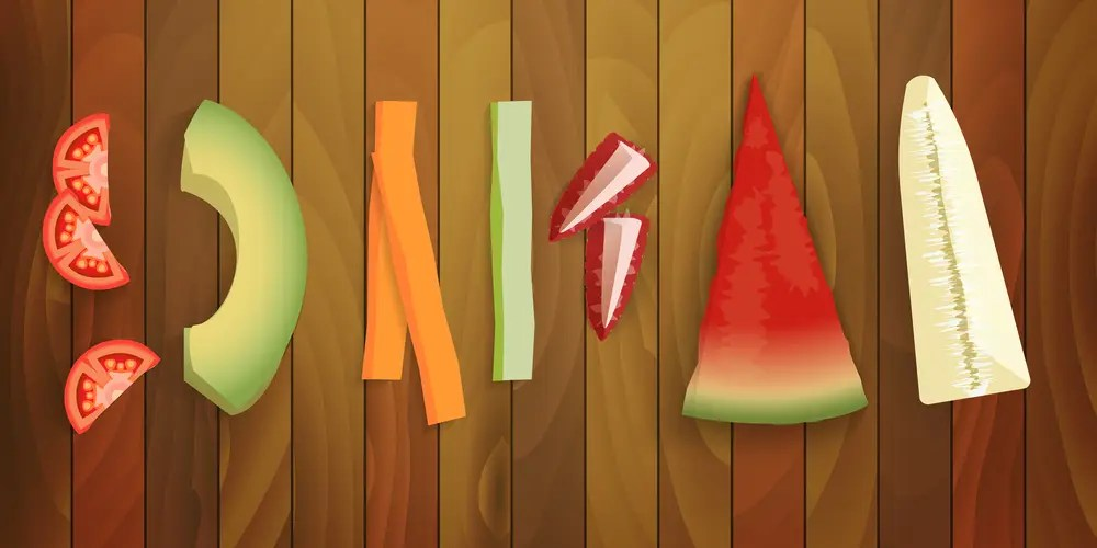 A cartoon version of fruits and vegetables showing How to Cut Food for Baby Led Weaning