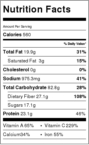 Roasted Veggie Chili Nutrition Label