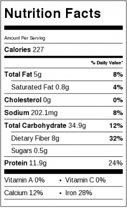 Sage White Beans Nutrition Label