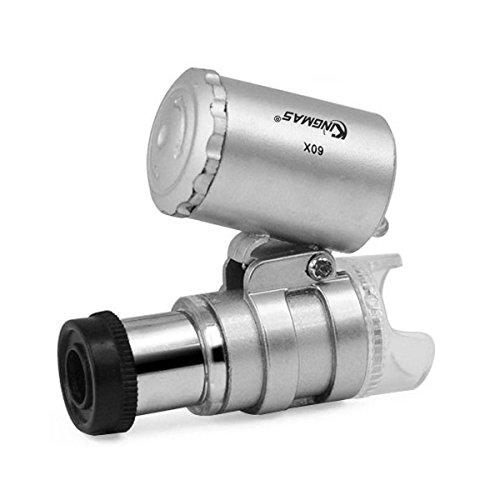 KINGMAS Mini 60x LED UV Light Pocket Microscope Jeweler Magnifier Loupe