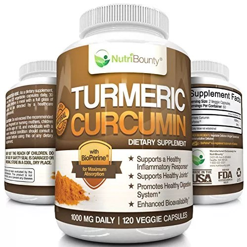 Turmeric Curcumin with BioPerine® (Black Pepper) – 1000mg per Serving (120 Capsules) | Anti-Inflammatory, Antioxidant | Ground Root Powder for Maximum Potency without Side Effects | by NutriBounty