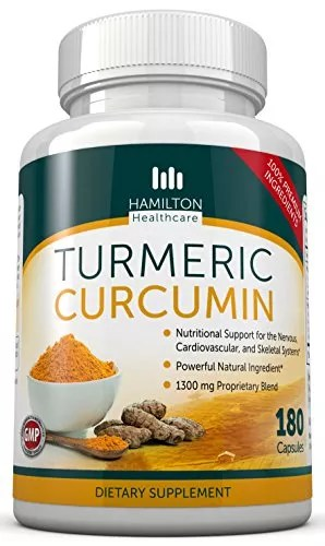 Turmeric Curcumin – Powerful Pure All Natural Supplement 180 Capsules By Hamilton Healthcare