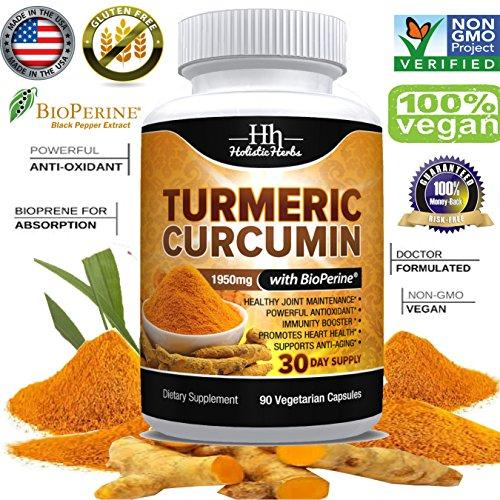 Holistic Herbs Turmeric Curcumin 1950mg with Bioperine 15mg and 95% Curcuminoids – 90 Capsules