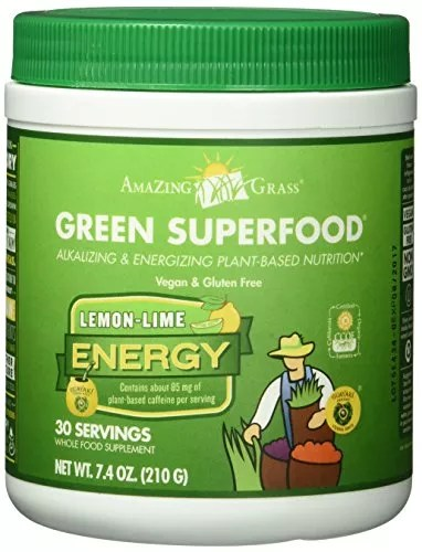 Amazing Grass Energy Green Superfood Lemon Lime Flavor, 7.4-Ounce Tub