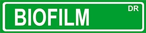 Novelty BIOFILM 24″ wide vinyl decal bumper sticker of street sign