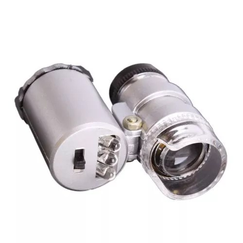 1 X Portable 60X Microscope Magnifier Magnifying Eye Jeweler Loupe with UV LED Illumination Lighting Money Currency Detect Detecting
