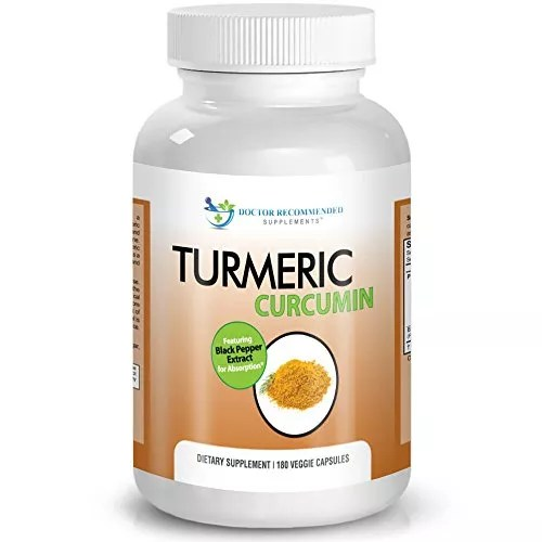 Turmeric Curcumin – 2250mg/d – 180 Veggie Caps – 95% Curcuminoids with Black Pepper Extract (Piperine) – 750mg capsules – Most powerful Turmeric Supplement – by Doctor Recommended