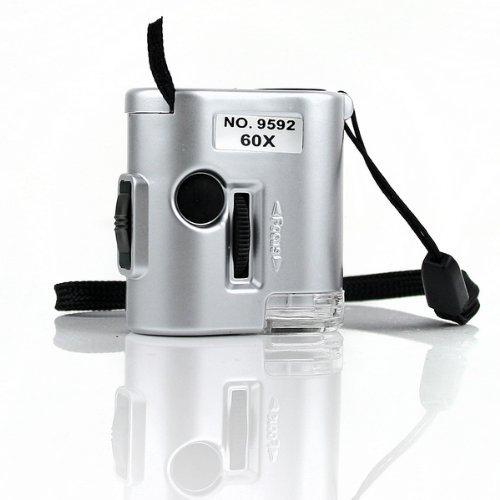 FOONEE Mini 60X Pocket Microscope Loupe LED UV Light Magnifier
