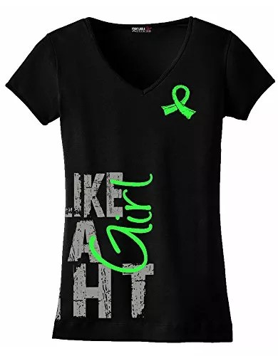 Fight Like a Girl Side Wrap T-Shirt Ladies' V-Neck Black w/ Lime Green [XL]