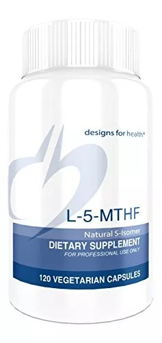 Designs for Health – L-5-MTHF Folate (L-Methylfolate) Supplement with High Bioavailability, 120 Vegetarian Capsules