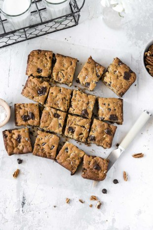 These Paleo Salted Pecan Blondies are made with cassava flour and dairy-free chocolate chips for the most fudgey grain-free blondies ever!