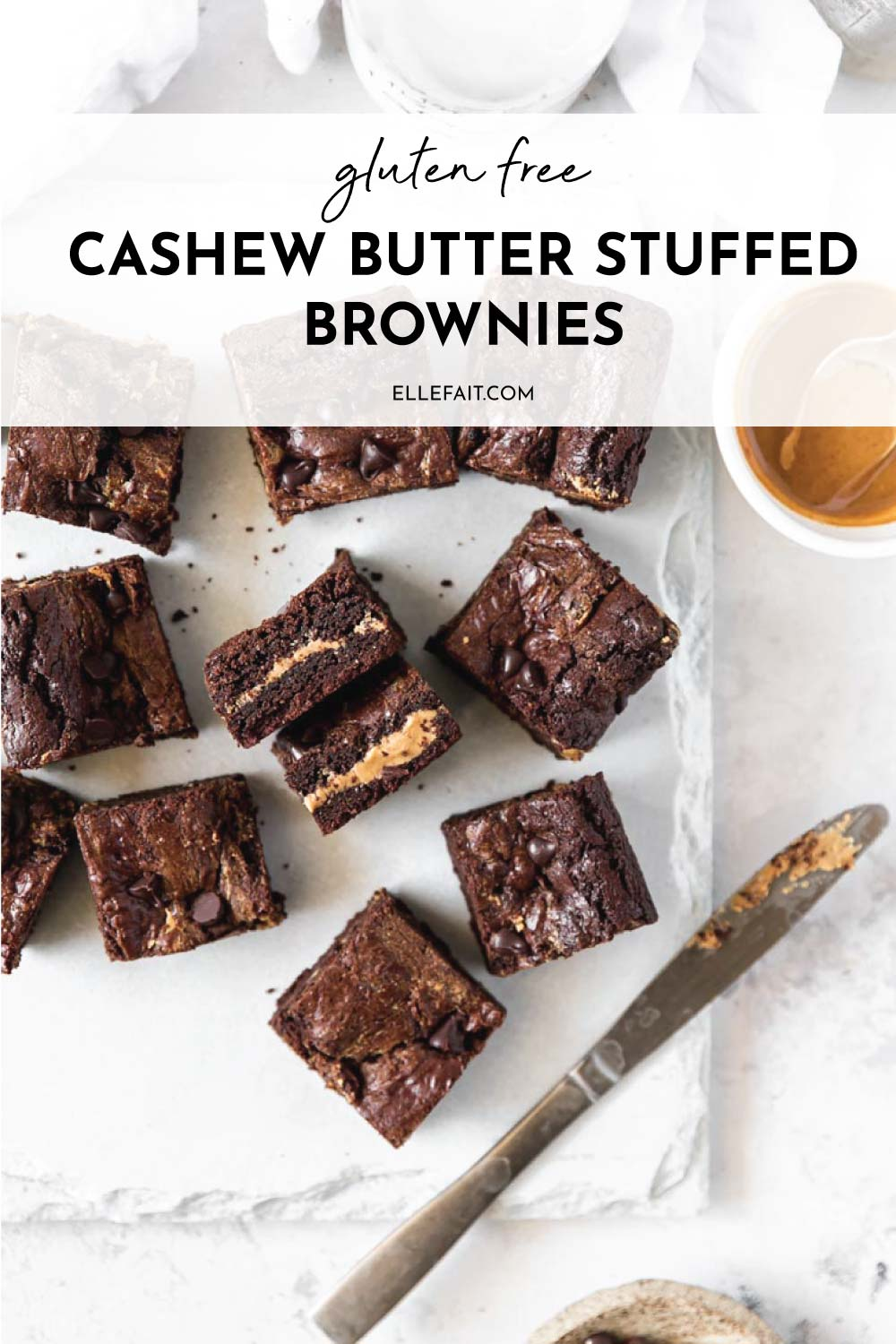 These fudgy, decadent Cashew Butter Stuffed Brownies are made with cassava flour and dairy free chocolate chips. A gluten-free and dairy free dessert you'll want to make on repeat!