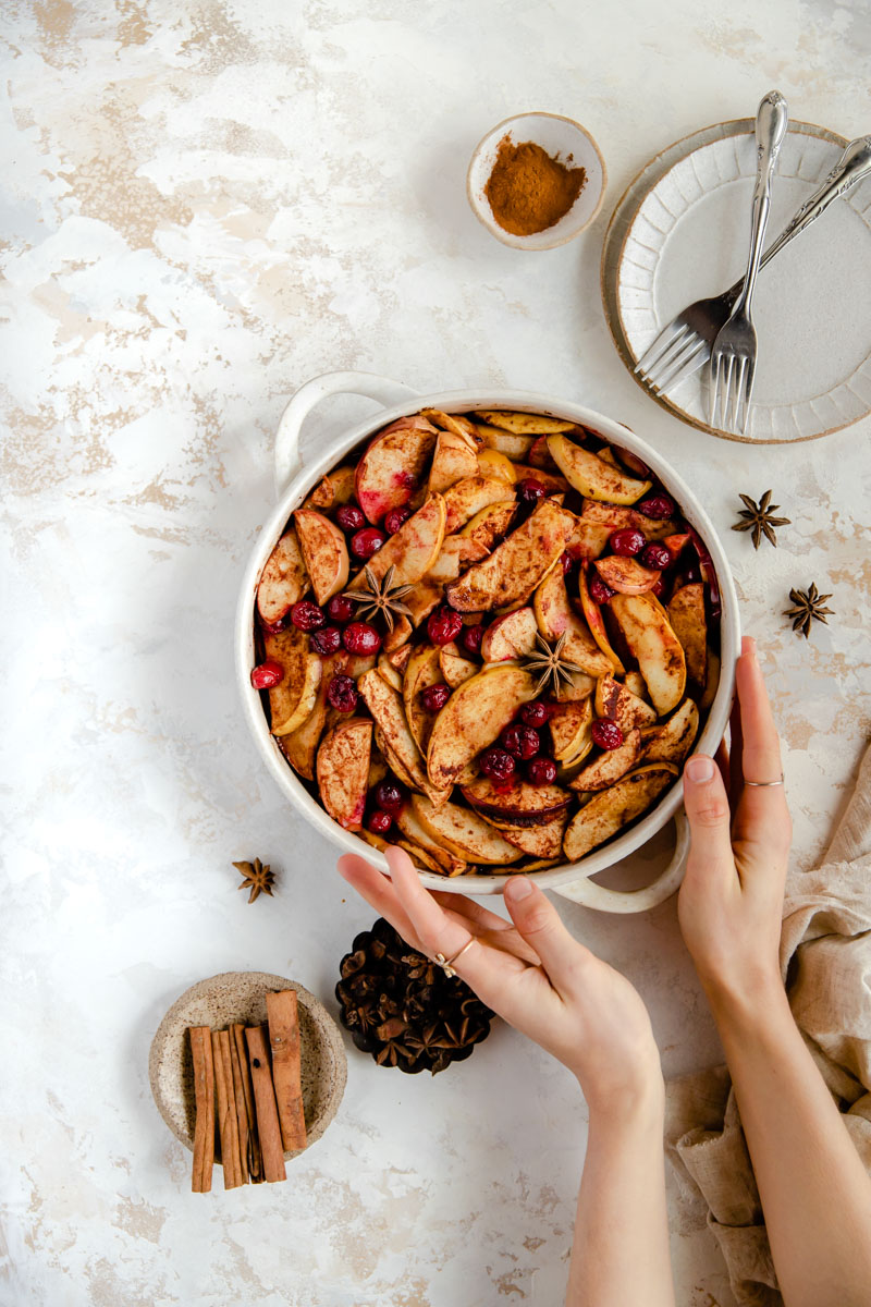 These healthy, gluten-free baked apples and cranberries are syrupy and sweet despite being healthy and naturally sweetened. The perfect healthy baked fruit treat!