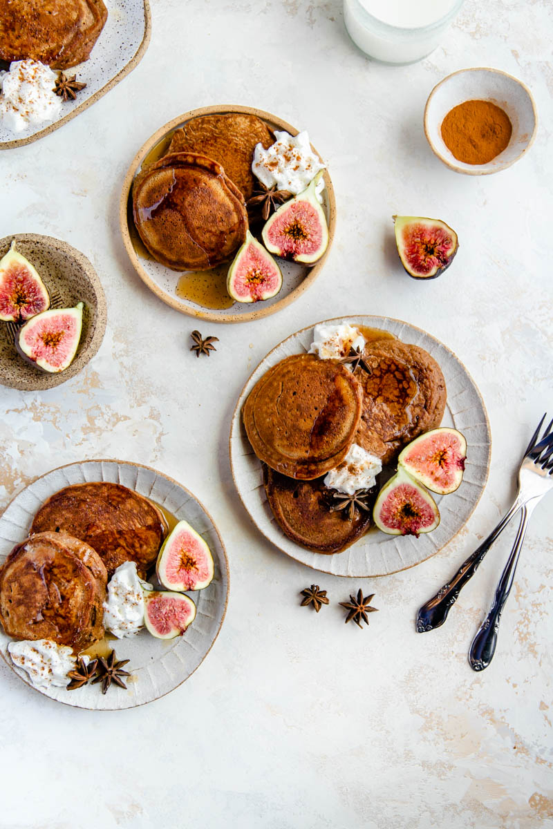 Sweet, spiced gingerbread pancakes made with cassava flour and all grain-free ingredients. The perfect gluten-free gingerbread pancakes for the weekend!